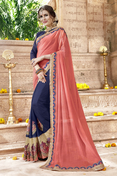 Incredible Classic syle sarees in Georgette fabric party sarees Peach & Blue color good Embroidery , Lace Saree FZ 711