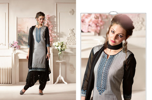 Marvelous Patiyala in Pure Chanderi fabric casual suits Grey color good Embroidery , Lace Salwar Kameez FZ 437