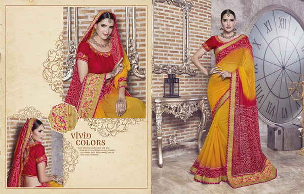 Gorgeous Designer sarees in Georgette fabric wedding sarees Yellow, pink color good Jari, Embroidery,Lace Sarees FZ 462