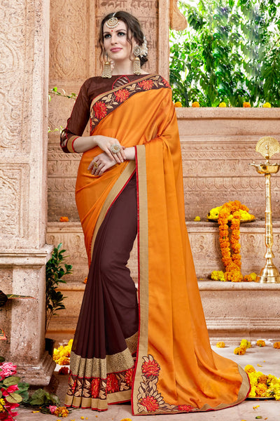 Stylish Classic syle sarees in Georgette fabric party sarees Orange & Brown color good Embroidery , Lace Saree FZ 714