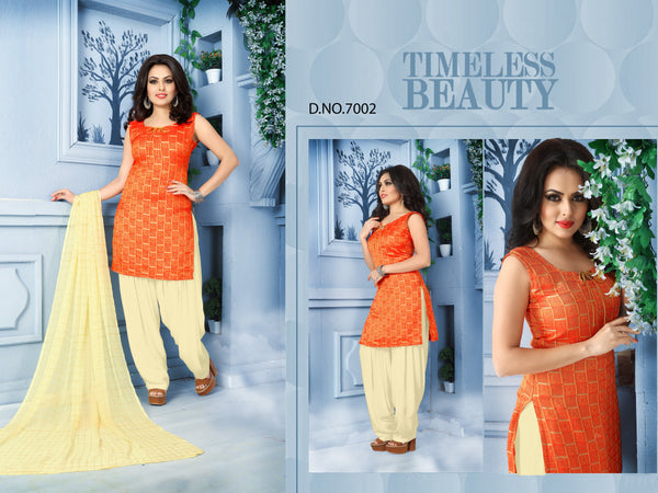 Balammal Salwar Kameez 2 Designer Wedding  Orange Pure Banarasi Silk Jequard Patiyala Suit