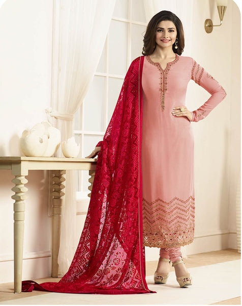 Arpana Salwar Kameez 7 Designer Wedding Embroidery Peach Georgette Salwar Suit