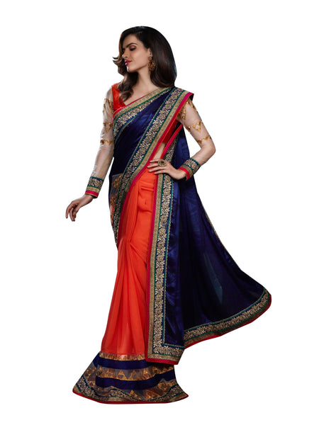 Styleez Saree 20 Floral Cording Work With Multiple Contrast Lace & Crystal