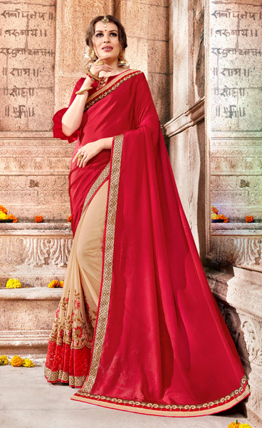 Beautiful Looking Classic syle sarees in Georgette fabric party sarees Red & Cream color good Embroidery , Lace Saree FZ 706