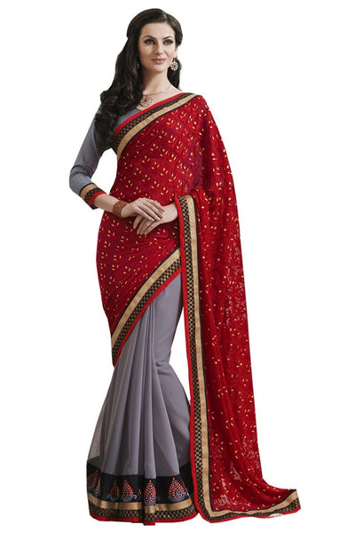 Fabulous Red Half and Half Saree With Blouse