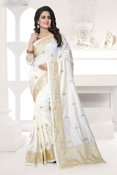 White Color Party Wear Bollywood Style Designer Saree