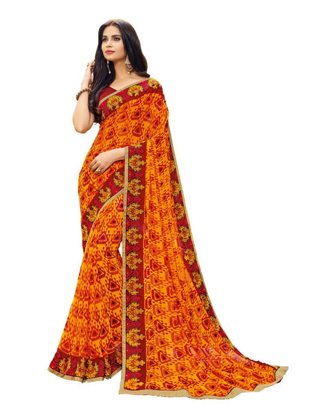 Orange Color Georgette Saree With Raw Silk Blouse