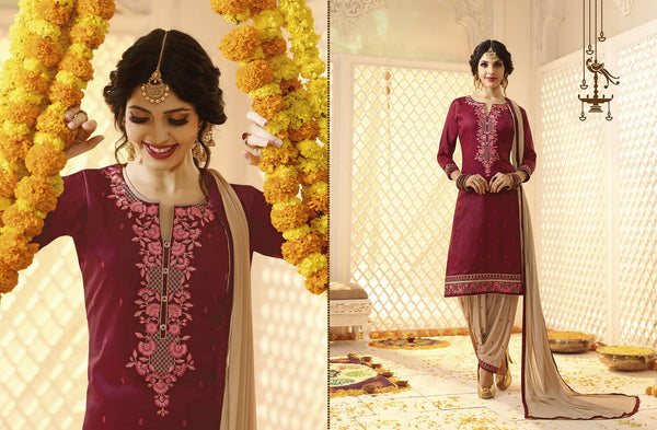 Stunning Patiyala Brown color good Embroidery Lace Salwar kameez 399