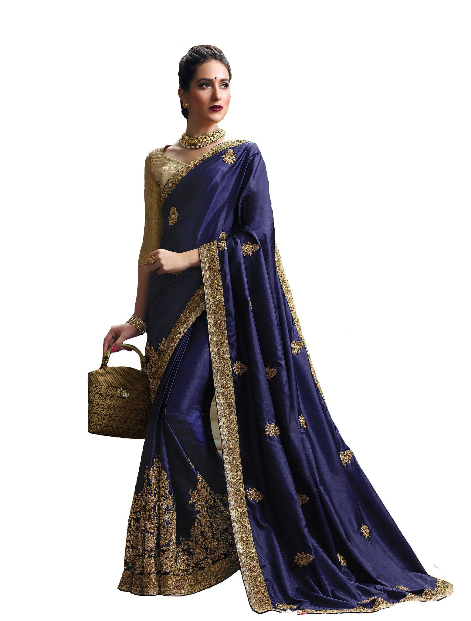 Striking Designer sarees in Paper Silk fabric bridal sarees Navy Blue color good Embroidery Saree 589