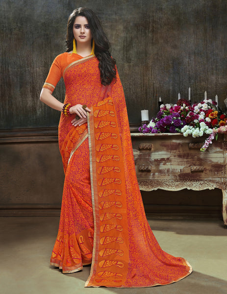 Pretty Traditinal sarees in Major Georgette fabric Partywear Orange color good Embroidery Saree 623
