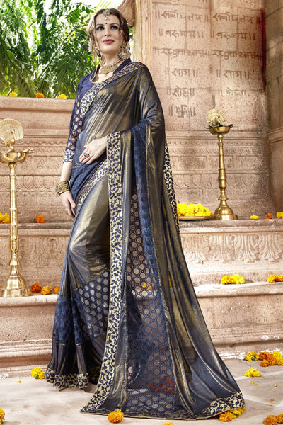 Pretty Classic syle sarees in Georgette fabric party sarees Grey & Blue color good Embroidery , Lace Saree FZ 709