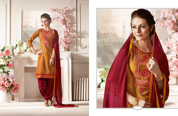 Splendid Patiyala in Pure Chanderi fabric casual suits Brown color good Embroidery , Lace Salwar Kameez FZ 436