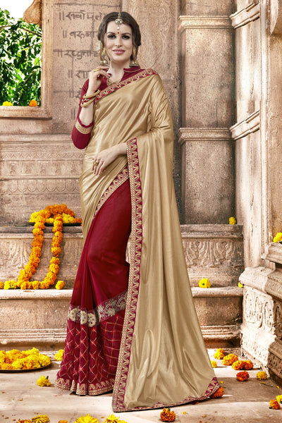 Exquisite Classic syle sarees in Georgette fabric party sarees Cream & Maroon color good Embroidery , Lace Saree FZ 710