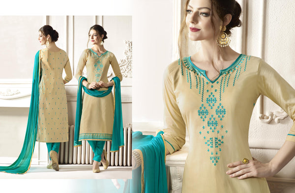 Pretty Straight cut in Cotton fabric bridal suits Beige color good Embroidery work Salwar Kameez FZ 520