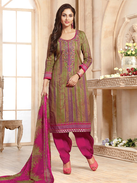 Styleez Salwar Kameez 10 All Over Print With Multi Resham Thread Work & Embroidered Lace