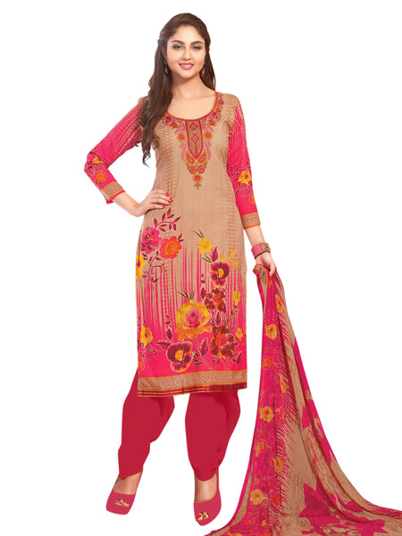 Styleez Salwar Kameez 13 Elegant Floral Print With Multi Resham Thread Work & Embroidered Lace