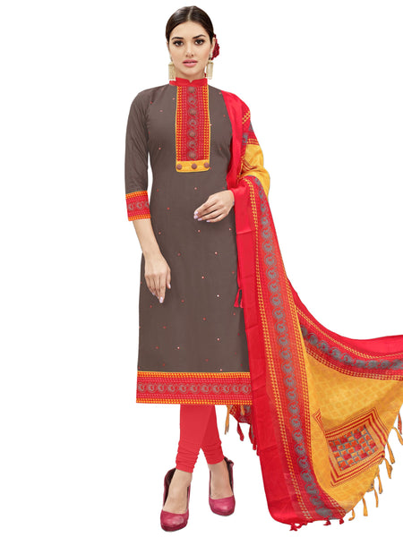 Styleez Salwar Kameez 40 Allover Mirror Work With Printed Border & Multi Printed Dupatta