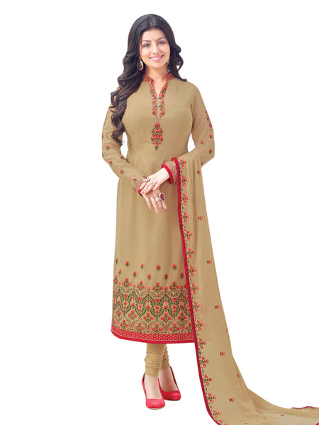Styleez Salwar Kameez 103 Sober Contrast Floral Resham Thread Work With Jari & Crystal, Ready Lace