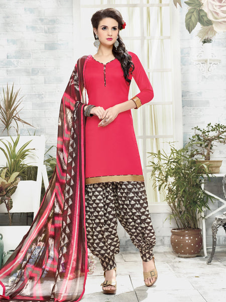 Styleez Salwar Kameez 110 Sober Ready Lace With Patiala Printed Bottom & Printed Dupatta
