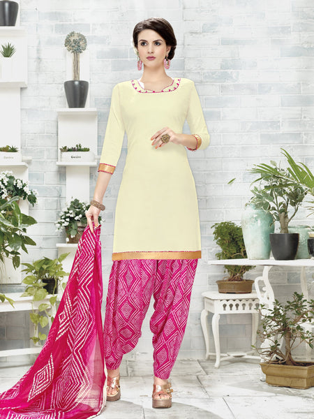 Styleez Salwar Kameez 111 Sober Ready Lace With Patiala Printed Bottom & Printed Dupatta