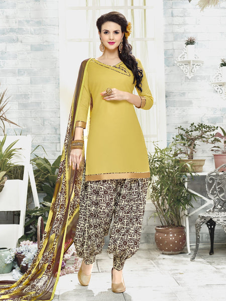 Styleez Salwar Kameez 120 Sober Ready Lace With Patiala Printed Bottom & Printed Dupatta