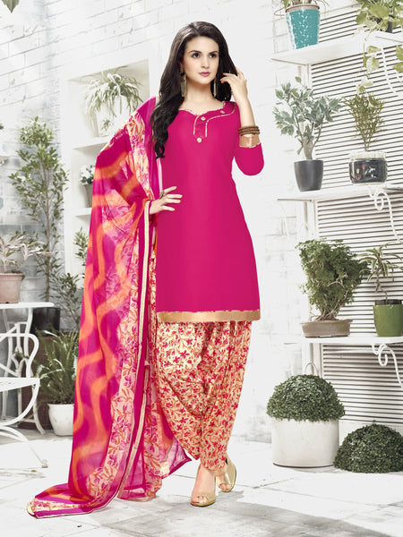Styleez Salwar Kameez 123 Sober Ready Lace With Patiala Printed Bottom & Printed Dupatta