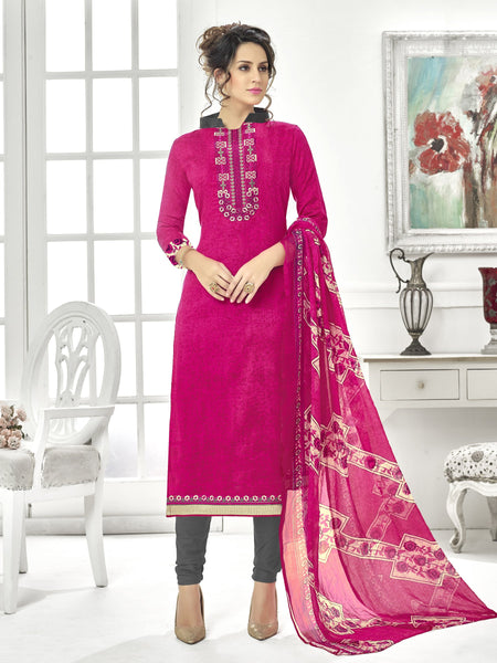 Styleez Salwar Kameez 126 Contrast Floral Multi Resham Thread Work With Printed Back & Ready Lace
