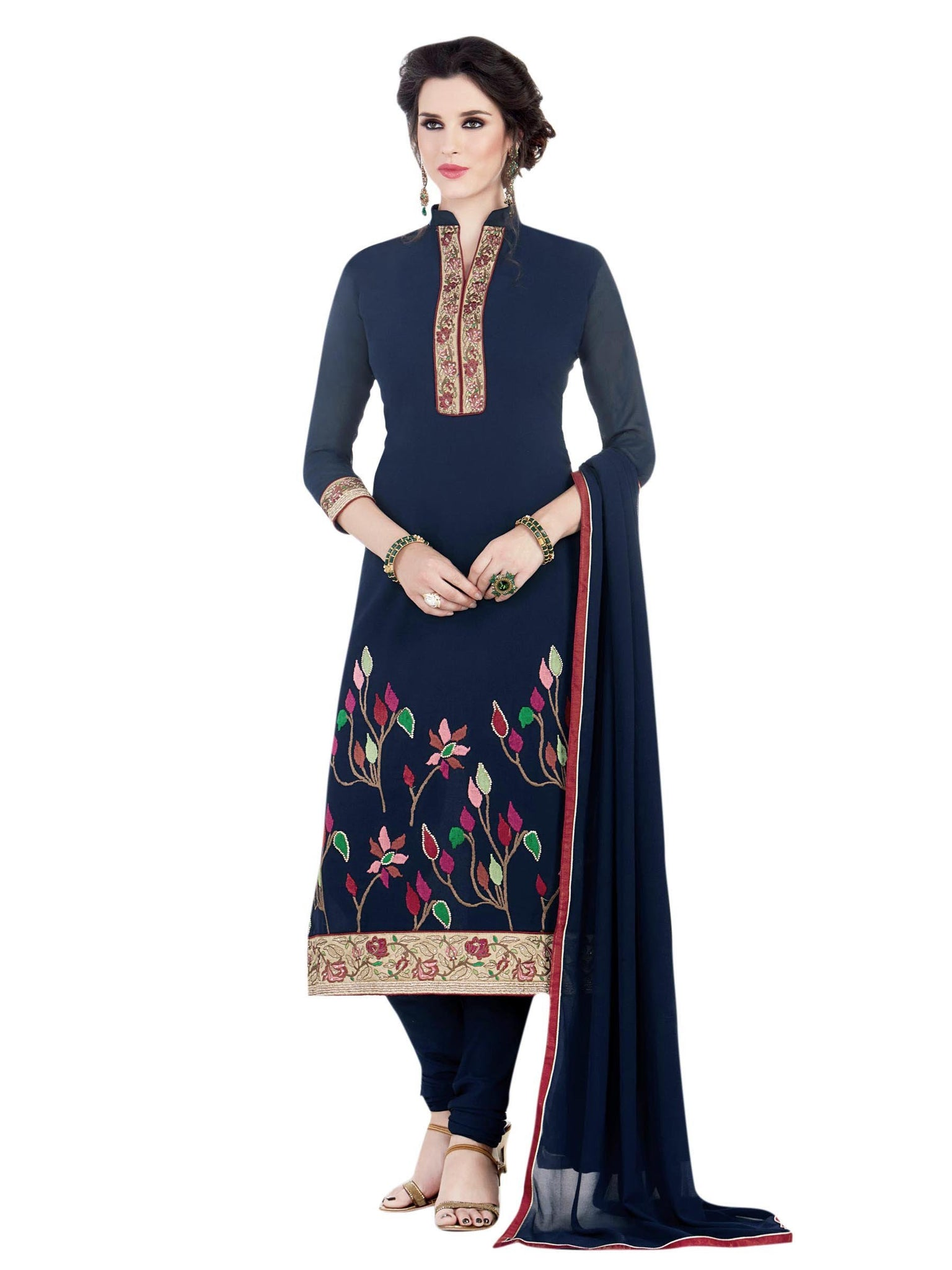 Styleez Salwar Kameez 153 Designer Contrast Floral Resham Thread Work With Ready Lace & Crystal