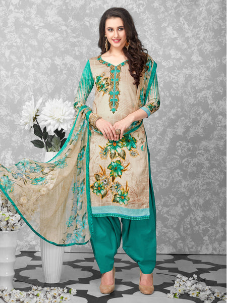 Styleez Salwar Kameez 163 Elegant Floral Resham Work On Neckline & All Over Digital Floral Print