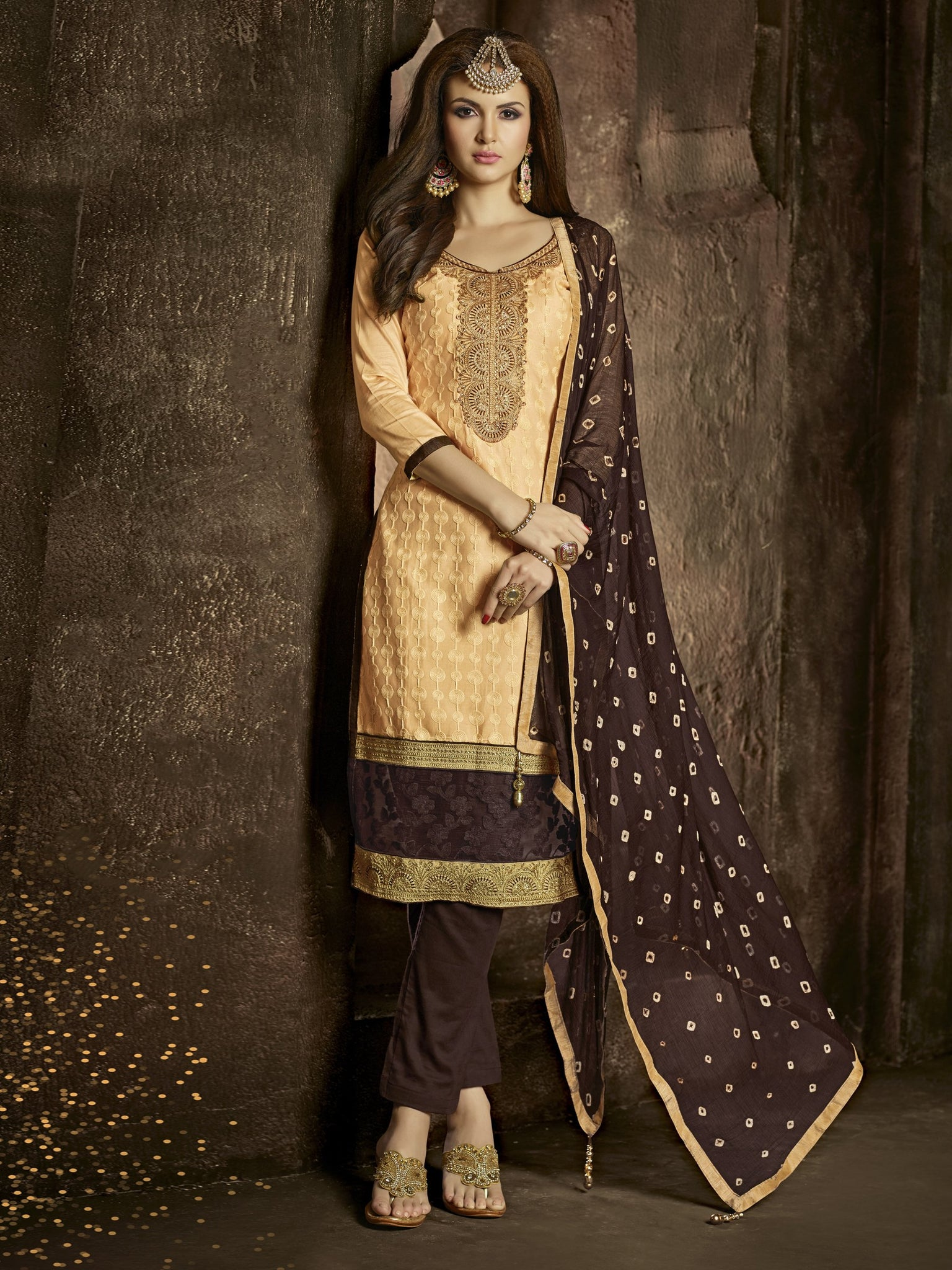Styleez Salwar Kameez 164 All Over Resham Thread Work With Traditional Cording Work & Ready Lace
