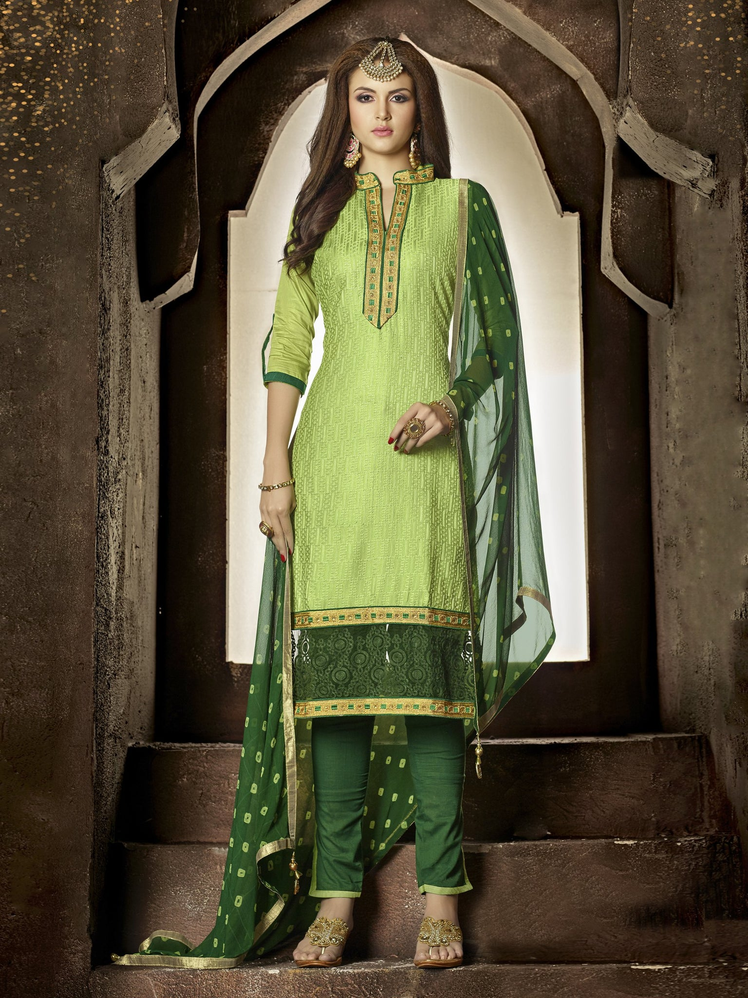 Styleez Salwar Kameez 166 All Over Resham Thread Work With Cording Work & Patch Work