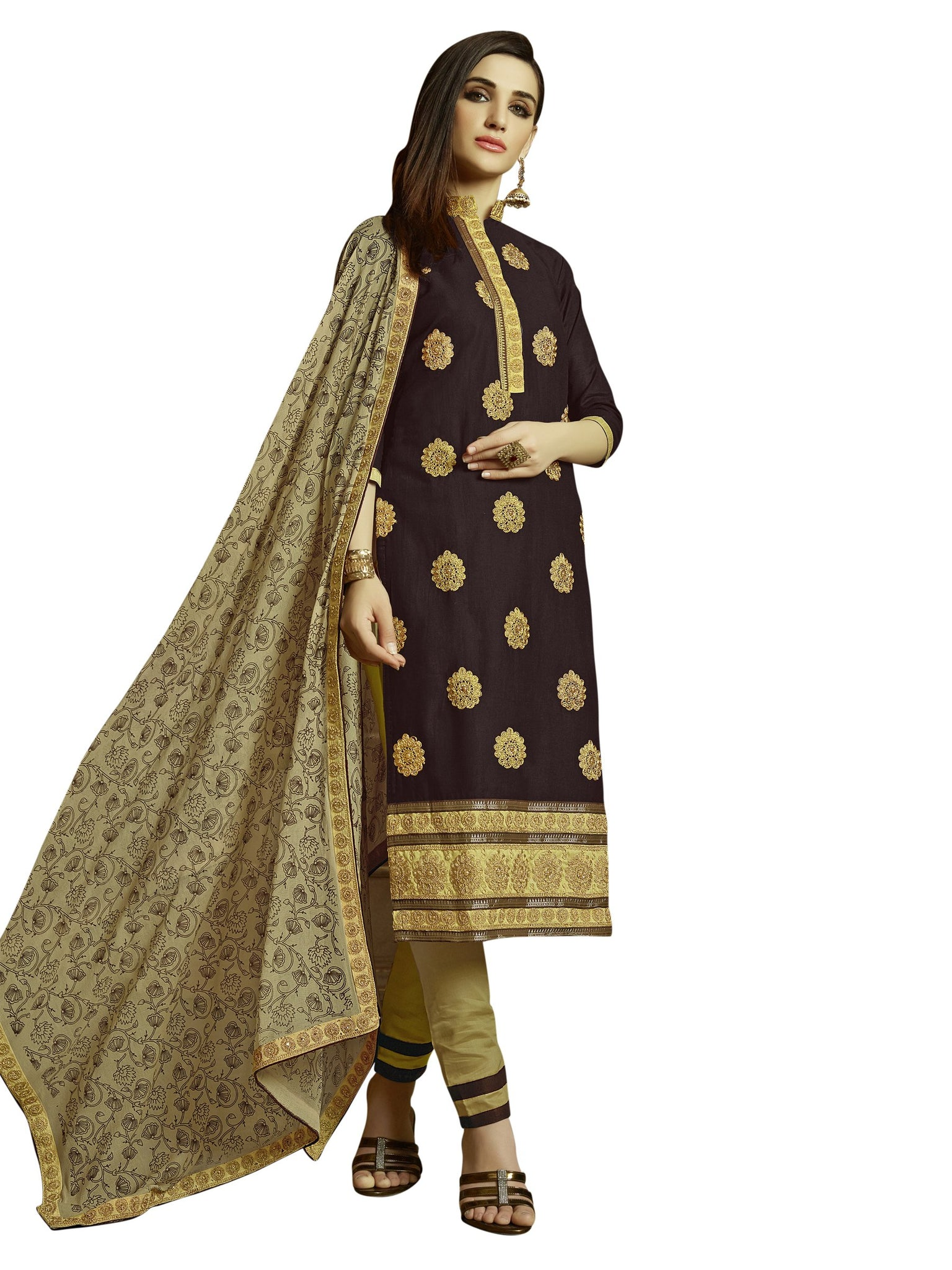 Styleez Salwar Kameez 181 Embellished Cording Work With Pearl & Crystal, Ready Lace