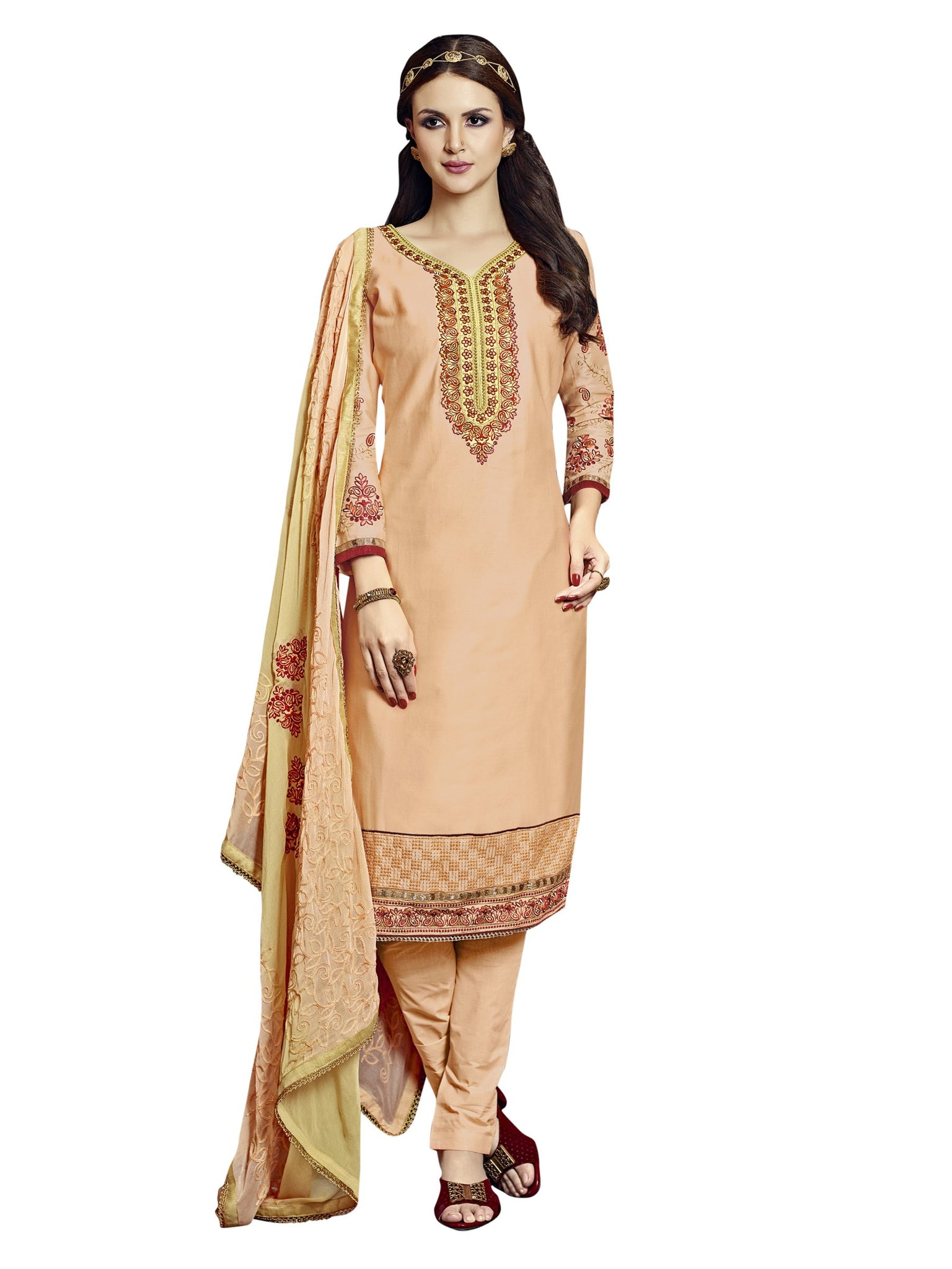 Styleez Salwar Kameez 187 Traditional Contrast Resham Work With Jari & Ready Lace, Crystal