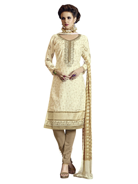 Styleez Salwar Kameez 189 Sober Floral Resham Thread Work With Ready Lace & Crystal