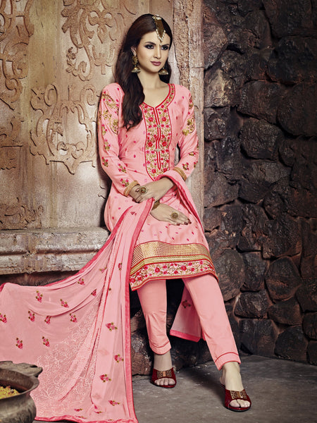 Styleez Salwar Kameez 190 Elegant Contrast Floral Resham Thread Work With Ready Lace & Crystal