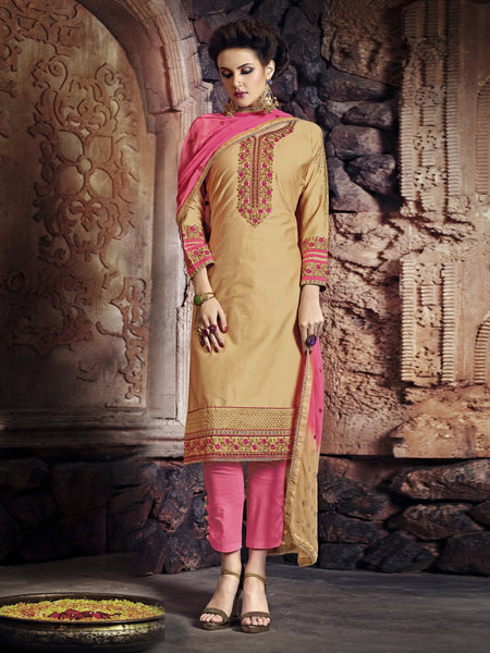 Styleez Salwar Kameez 191 Embellished Contrast Floral Resham Thread Work With Ready Lace & Crystal