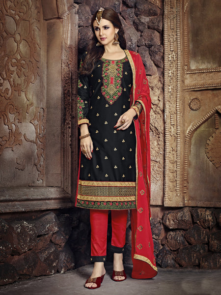 Styleez Salwar Kameez 193 Traditional Contrast Resham Thread Work With Ready Lace & Crystal
