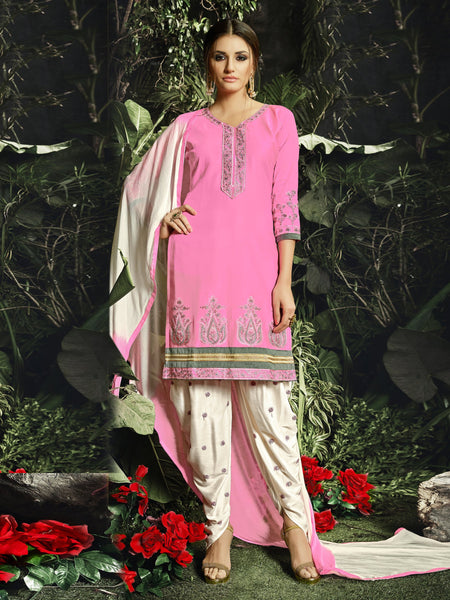 Styleez Salwar Kameez 196 Sober Contrast Resham Lakhnavi Work With Ready Lace & Embroidery on Bottom