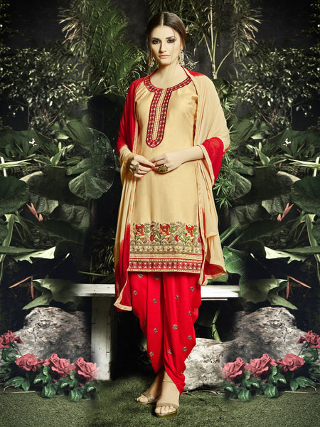 Styleez Salwar Kameez 197 Traditional Contrast Resham Thread Work With Mirror Work & Embroidery on Bottom