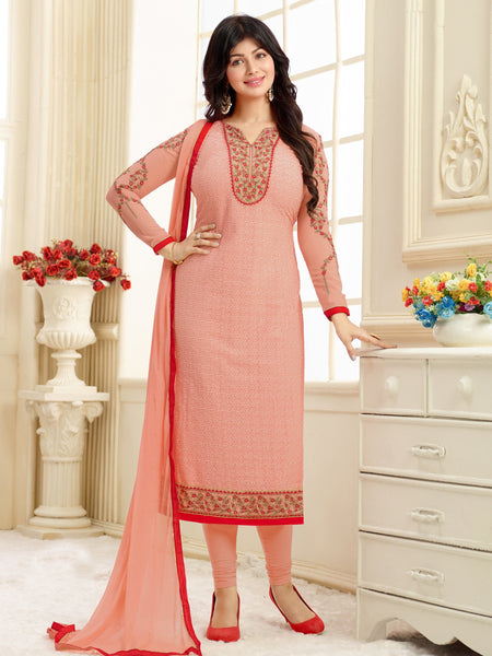 Styleez Salwar Kameez 208 All Over Floral Chikan Work With Traditional Jardoshi Work