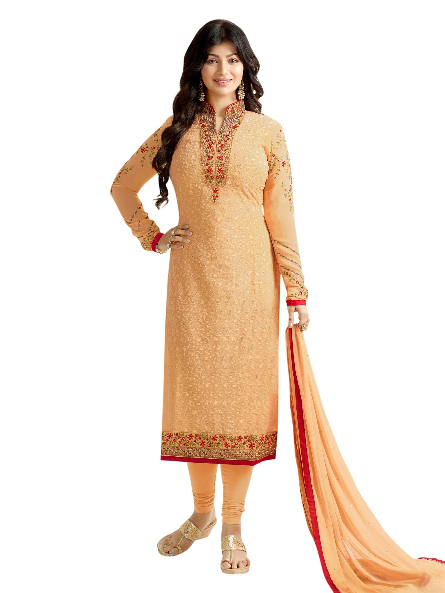 Styleez Salwar Kameez 210 All Over Floral Chikan Work With Traditional Jardoshi Work
