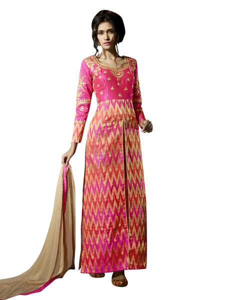 Styleez Salwar Kameez 214 Traditional Jardoshi Work With Gota & Silk Jacquard Zigzag Fabric