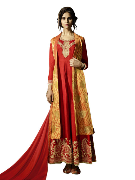 Styleez Salwar Kameez 216 Traditional Jardoshi Work With Cut Work & Silk Jacquard Jacket