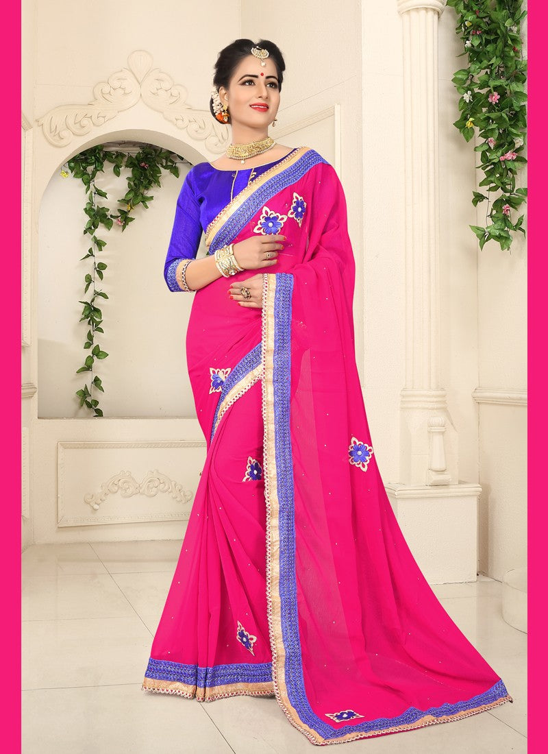 Attractive Crystals Stones, Lace and Embroidery Georgette Saree in Pink Color 166