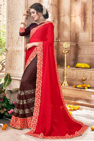 Classy Classic syle sarees in Georgette fabric party sarees Red & Brown color good Embroidery , Lace Saree FZ 715