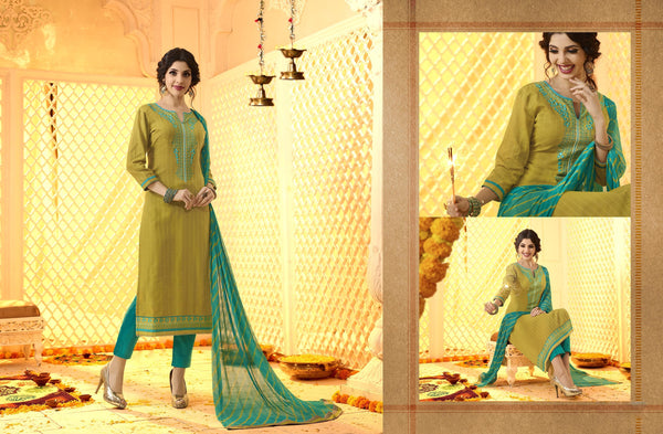 Stunning Patiyala in Brown color good Embroidery work with moti less Salwar kameez