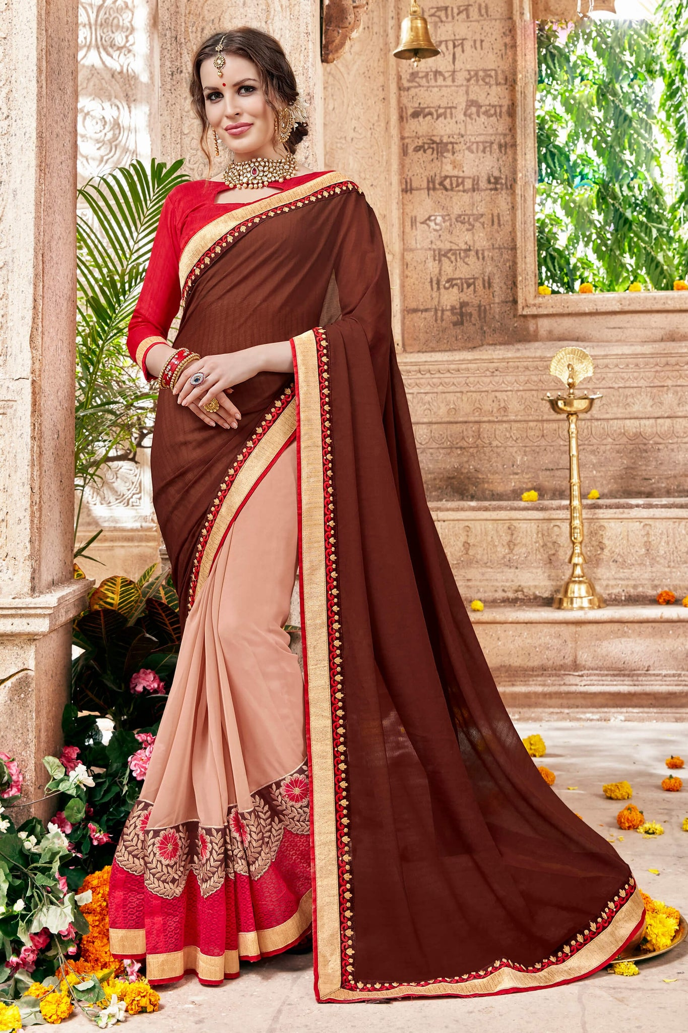 Marvelous Classic syle sarees in Georgette fabric party sarees Brown & Peach color good Embroidery , Lace Saree FZ 708