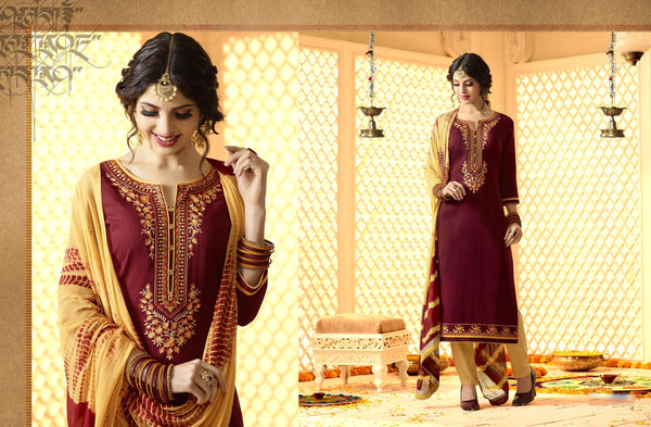 Pretty Patiyala in Maroon color good Embroidery work with moti less Salwar kameez