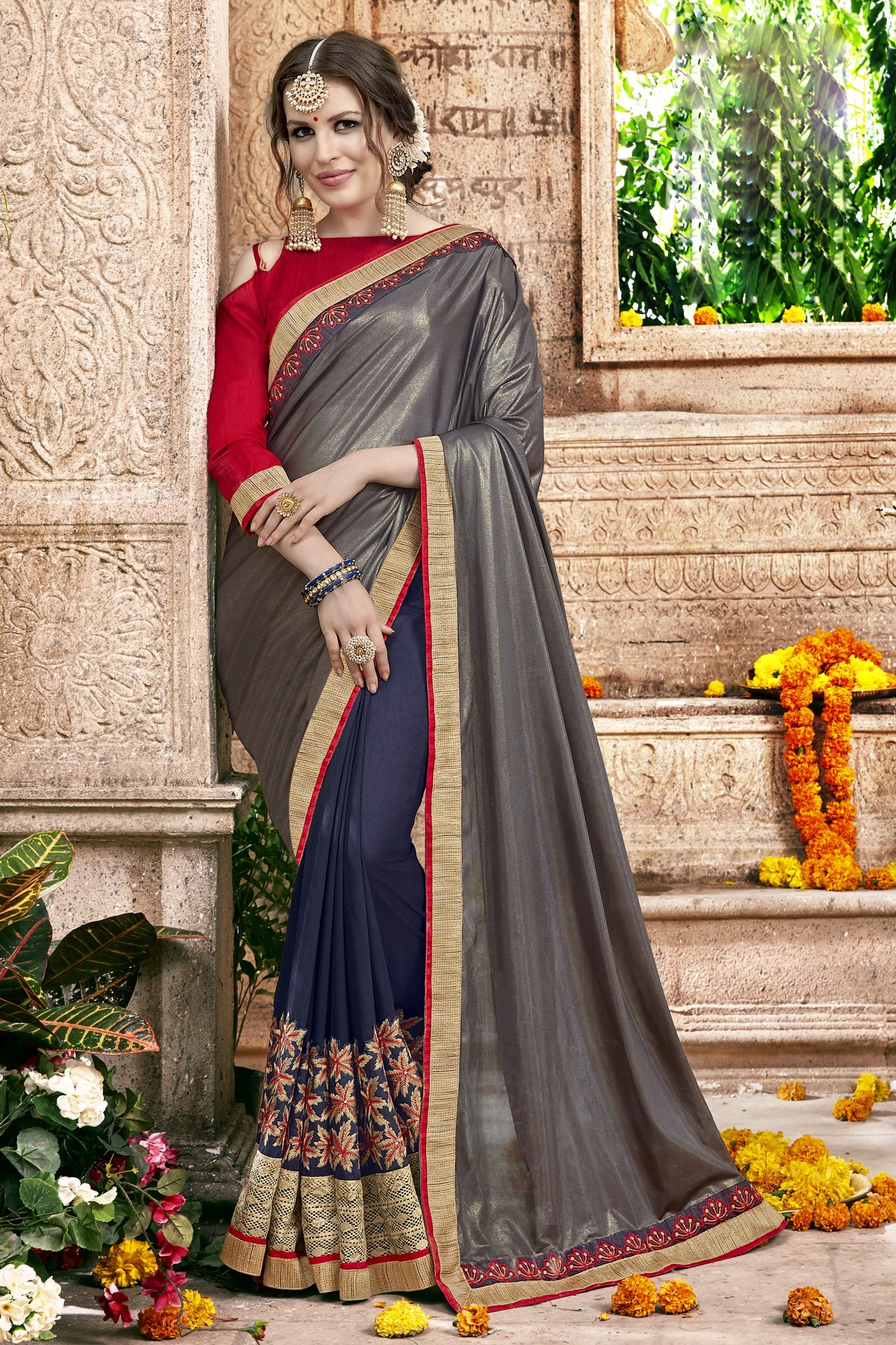 Splendid Classic syle sarees in Georgette fabric party sarees Grey & Blue color good Embroidery , Lace Saree FZ 707