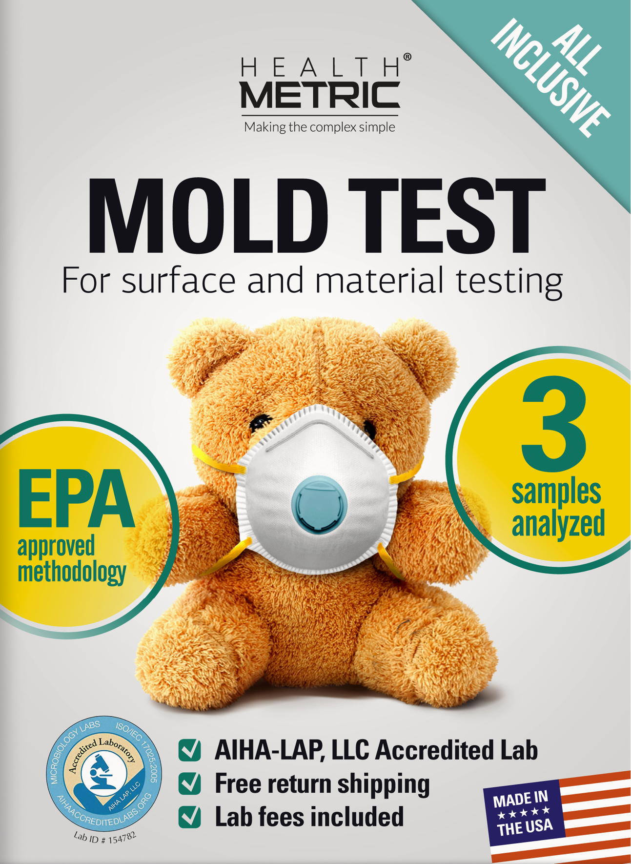 Mold Test Kit for Home - Includes free return shipping and Lab Analysis for 3 samples